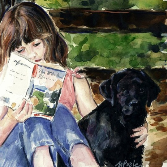 image of dog and girl reading