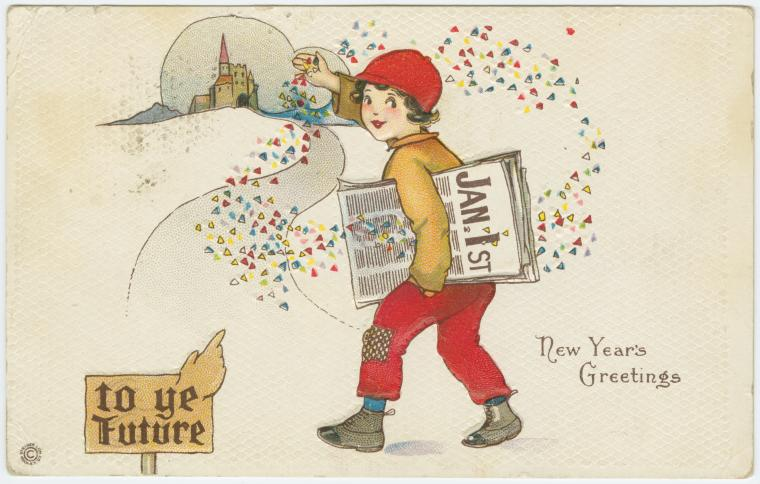 Vintage new years postcard from the NYPL