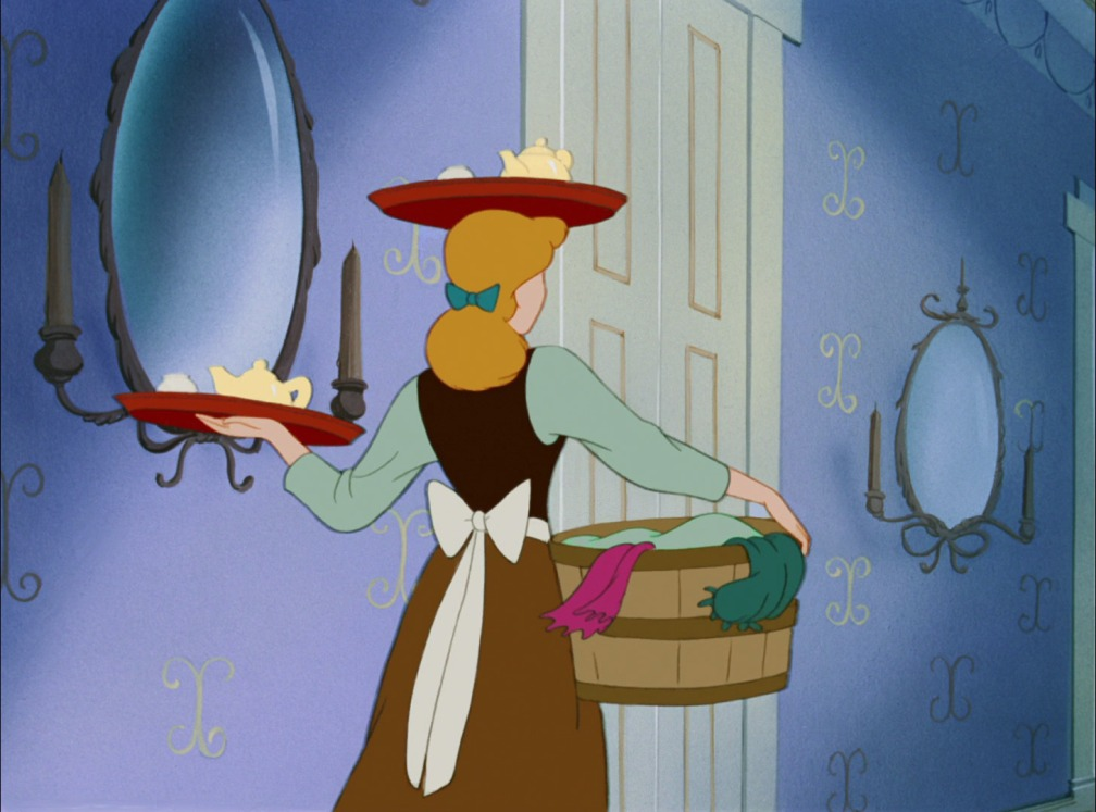 Still from Disney's Cinderella, carrying trays and laundry